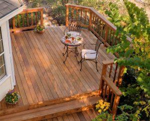Beautiful back yard wood deck patio with shade